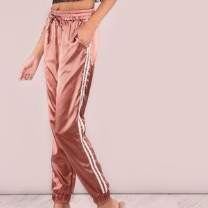 SHEIN Satin Side Striped Pink Joggers